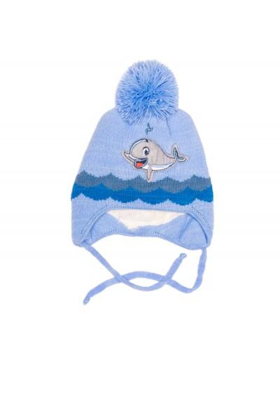 caciula copii bleu imprimeu delfin