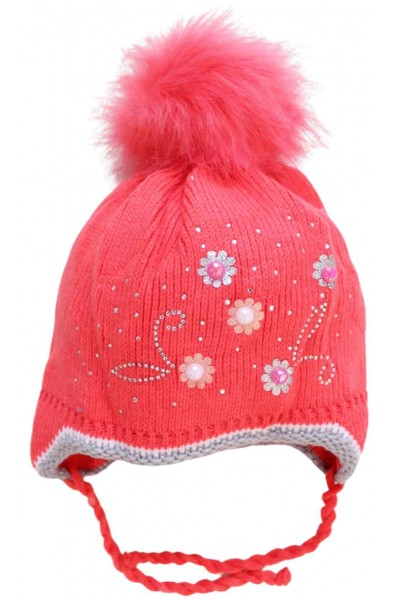 Caciula fete rosu-coray perle