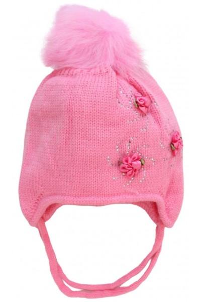 Caciula fete roz floricele
