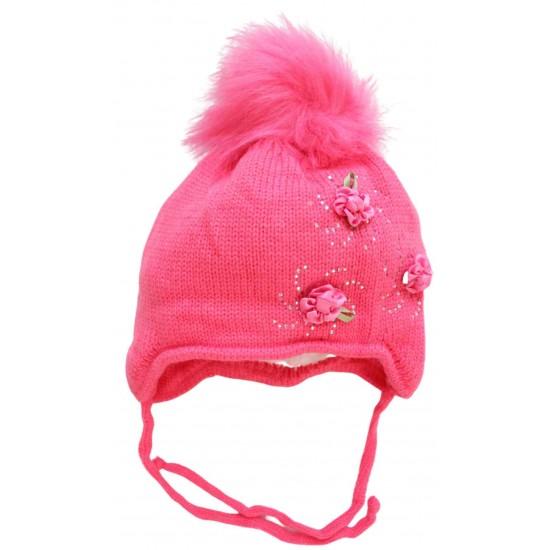 Caciula fete roz inchis floricele