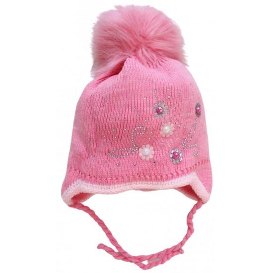 Caciula fete roz perle
