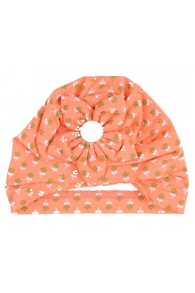 turban fete portocaliu floricele