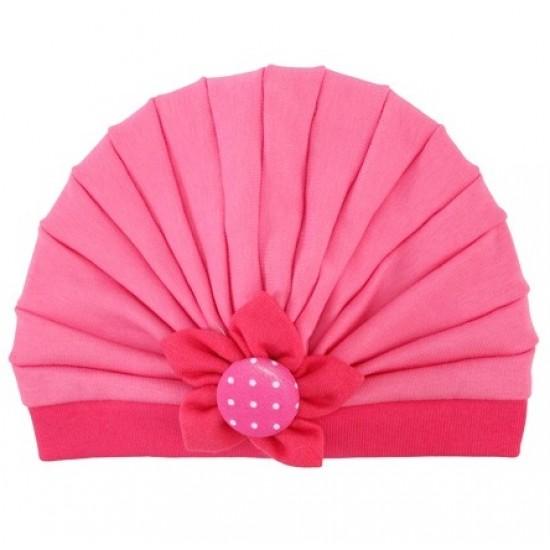 Turban fetite pliuri roz-cyclame