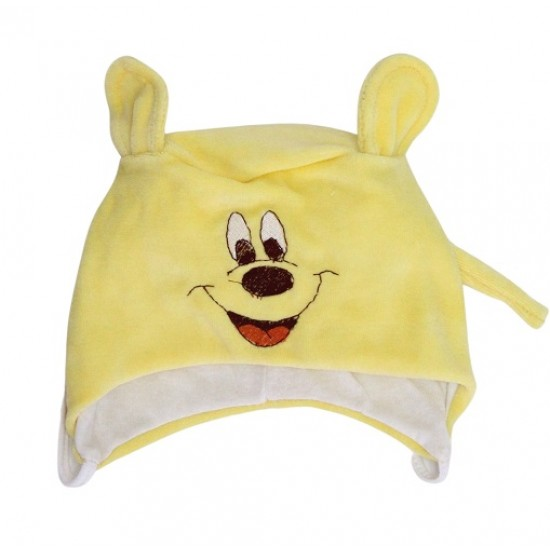 Caciula bebe catifea soricel galben