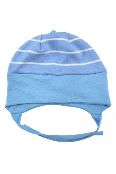 Caciula bebelusi bumbac bleu dungi albe