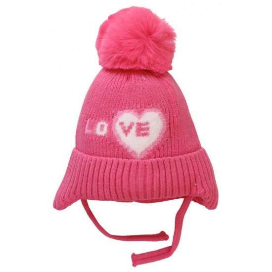 caciula copii roz love