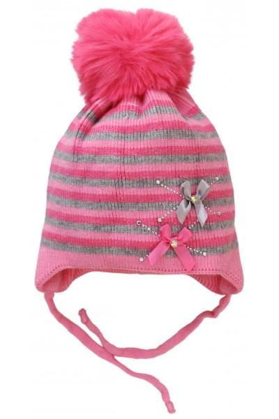 caciula copii dungulite roz-gri