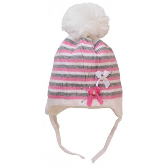 caciula copii dungulite alb-roz