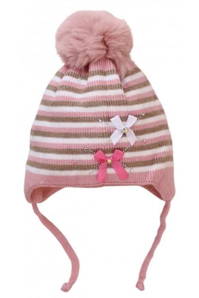 caciula copii dungulite roz-somon