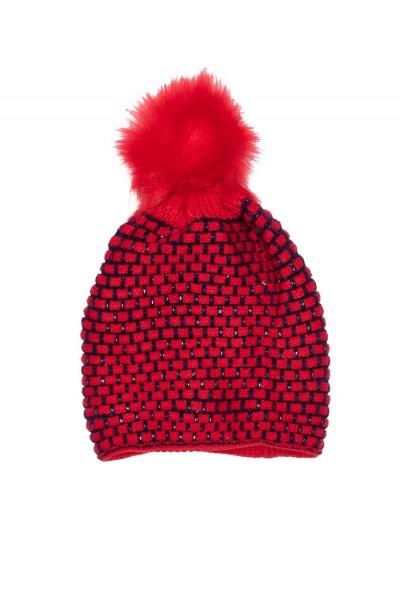 caciula fete tricotata rosu+bleumarin