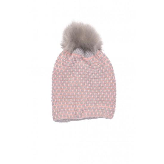 caciula fete tricotata gri+roz