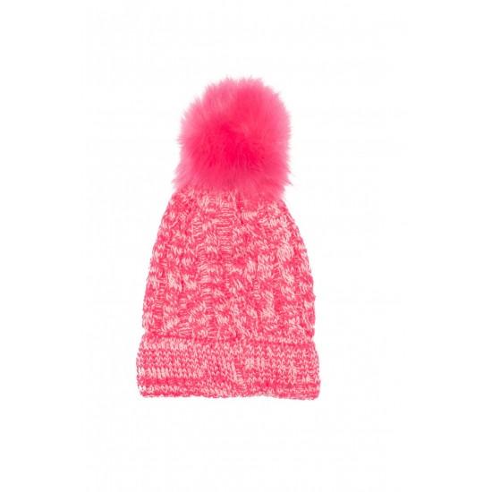 caciula fete tricotata roz