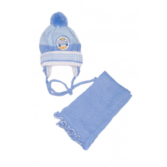 caciula copii+fular bleu