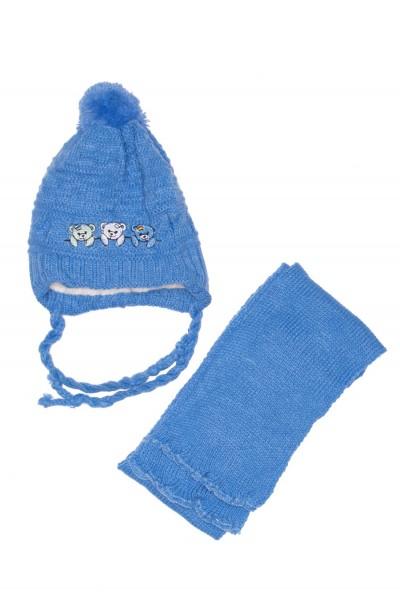 caciula copii+fular albastru