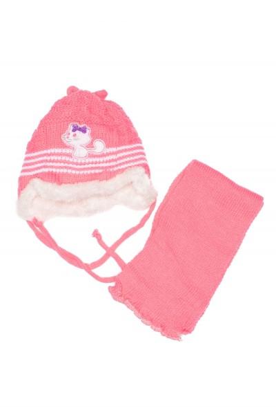 caciula fete roz ciclame+fular