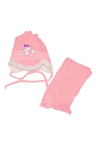 caciula fete roz+fular
