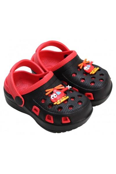 papuci copii negru-rosu