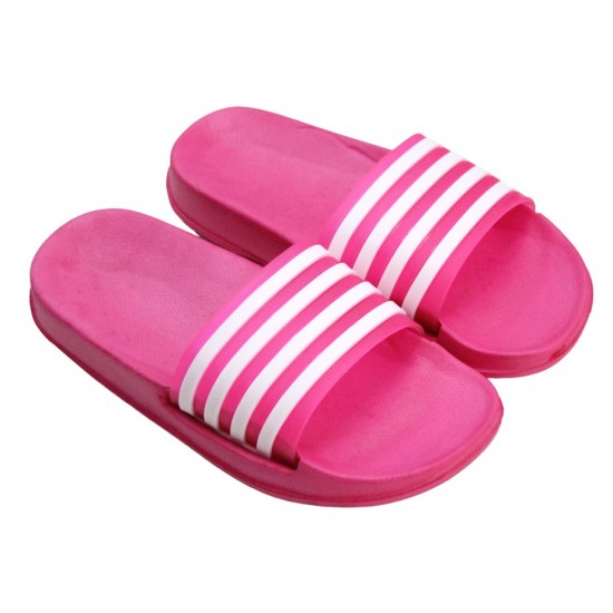papuci copii ciclam dungi albe