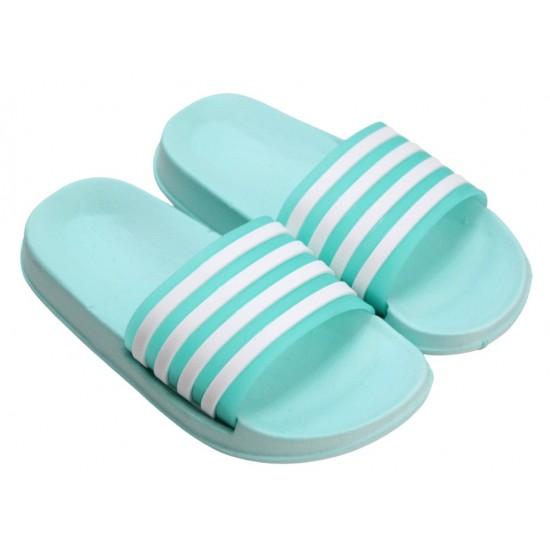 papuci copii turcoaz dungi albe