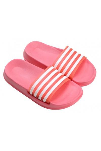 papuci copii roz piersica dungi albe
