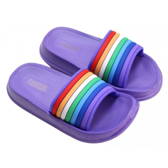 papuci copii mov dungi colorate