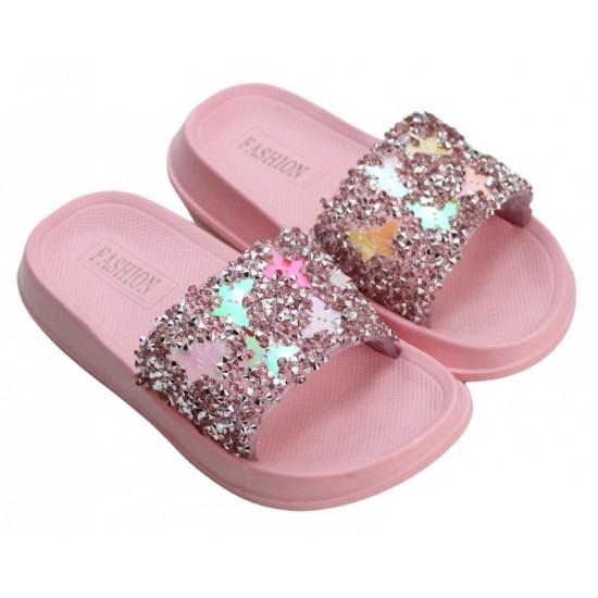 papuci copii roz prafuit fluturas