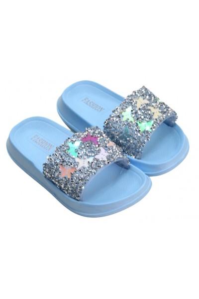 papuci copii bleu fluturas