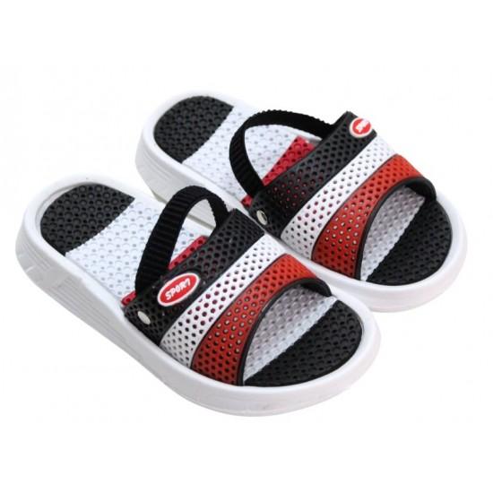 papuci copii negru-rosu sport