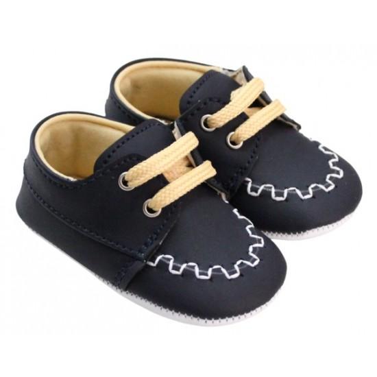 pantofiori baieti bleumarin cusatura alba sireturi maro