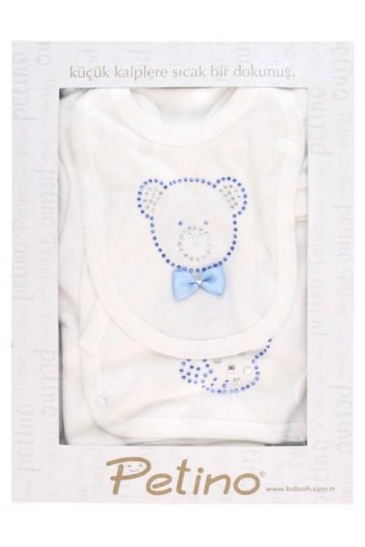 caseta cadou compleu cinci piese alb petino ursulet bleu