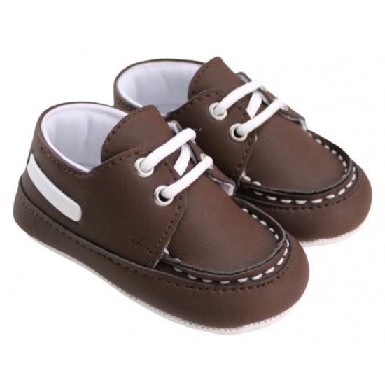 pantofiori baieti maro cusatura alba insert alb