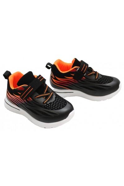 Adidasi copii negru+portocaliu