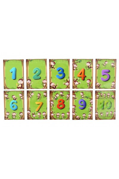 Set cifre magnetice verde monkey