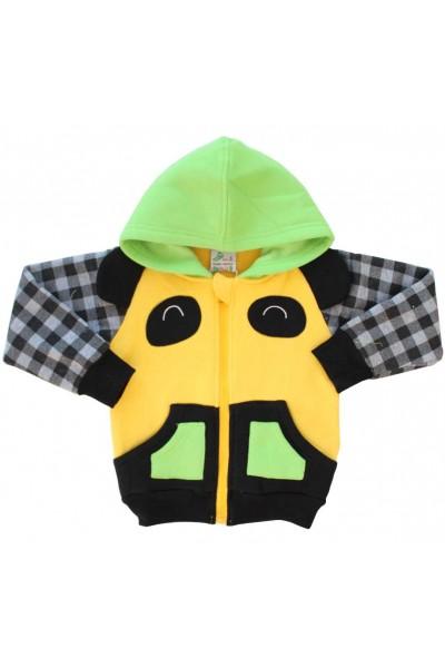 hanorac bumbac vatuit galben-verde panda