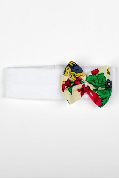 Bentita elastica alba model fundita traditional bej+verde