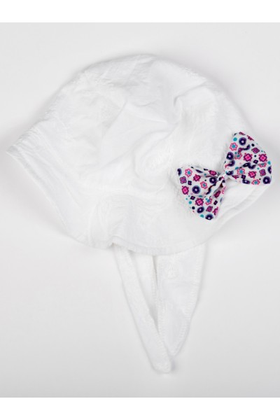 Palarie alba model fundita floricele roz