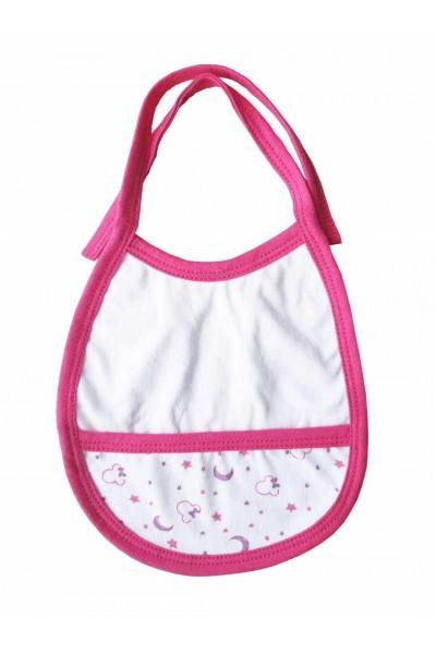 Baveta bebe margini roz cyclame semilune mov