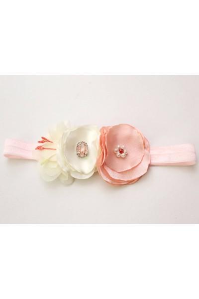 Bentita elastica flori roz somon si ivory