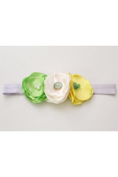 Bentita elastica flori verde-ivory-galben