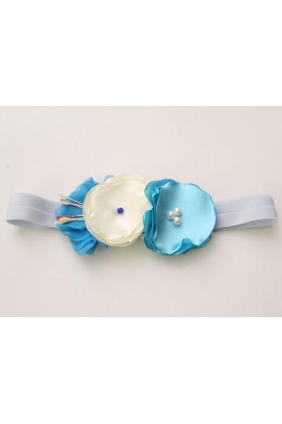 Bentita elastica flori bleu si ivory