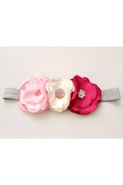 Bentita elastica flori roz-ivory-cyclame
