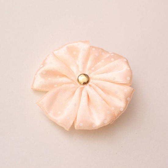 Agrafa floare textila roz piersica buline albe