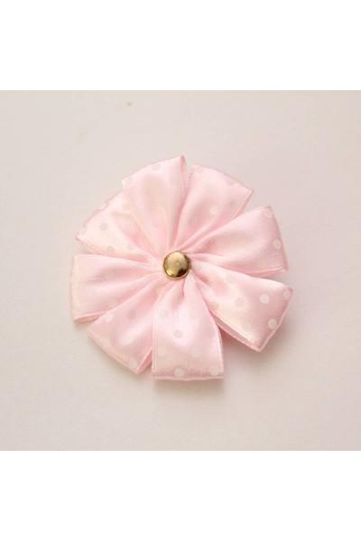 Agrafa floare textila roz deschis buline albe