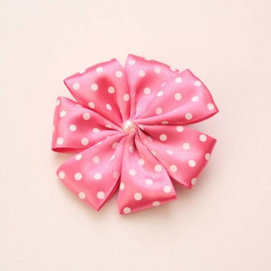 Agrafa floare textila roz cyclame buline albe