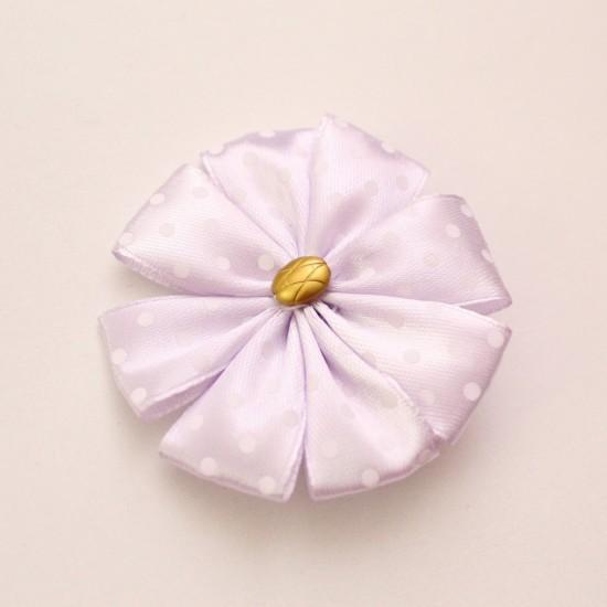 Agrafa floare textila lila buline albe