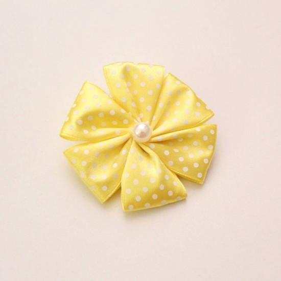 Agrafa floare textila galbena buline albe