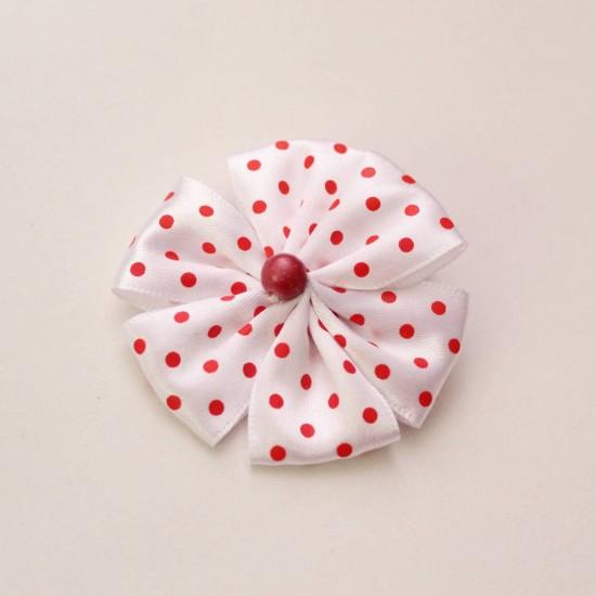 Agrafa floare textila alba buline rosii