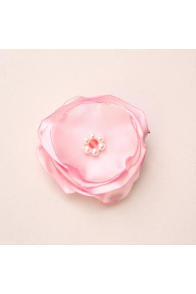 Agrafa floricica textila roz