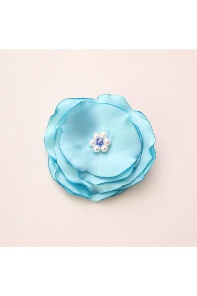 Agrafa floricica textil bleu