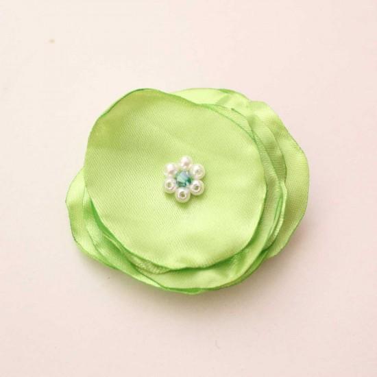 Agrafa floricica textil verde crud
